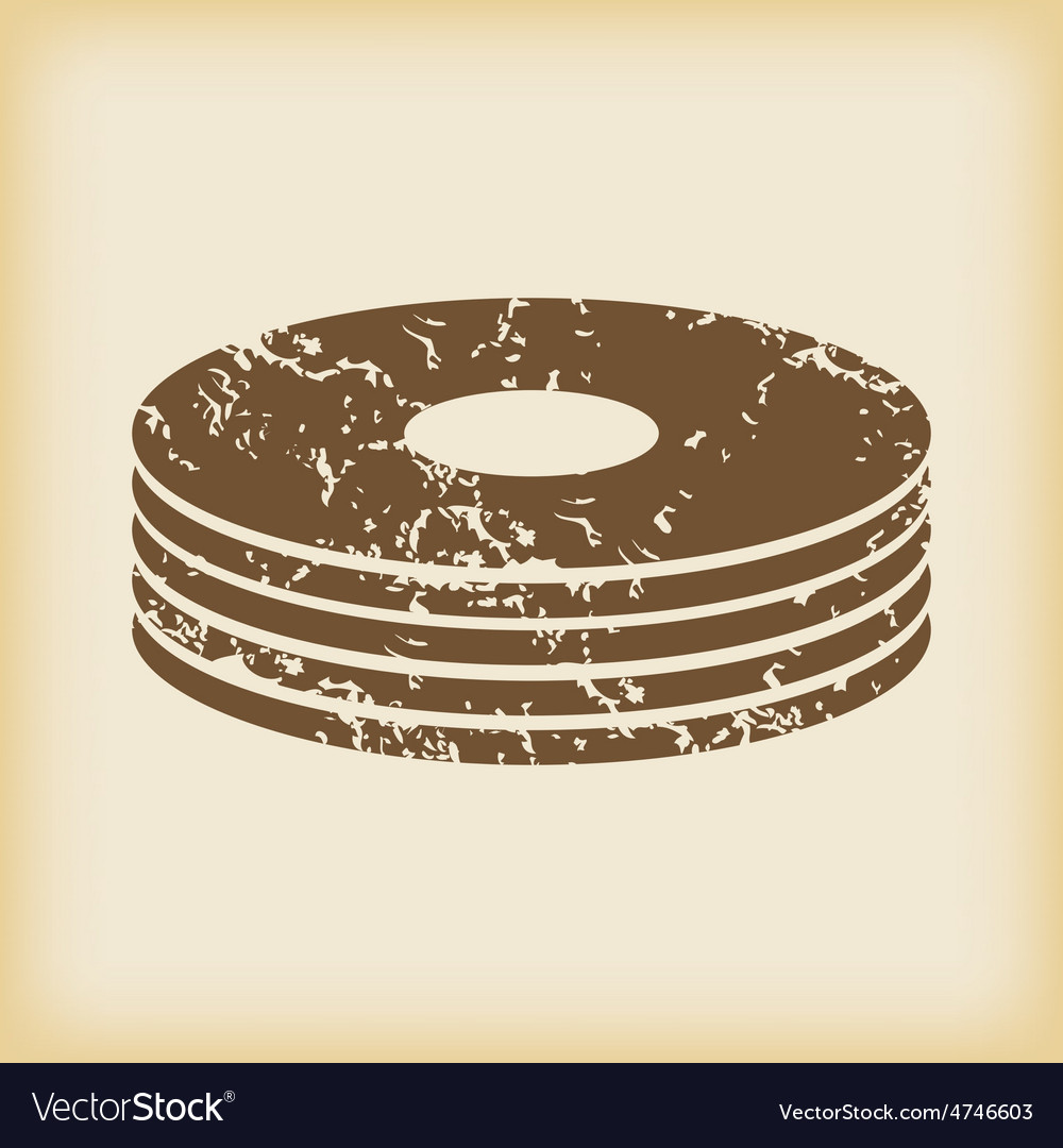 Grungy disc pile icon vector | Price: 1 Credit (USD $1)