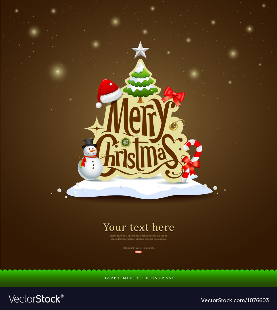 Merry christmas lettering design vector | Price: 3 Credit (USD $3)