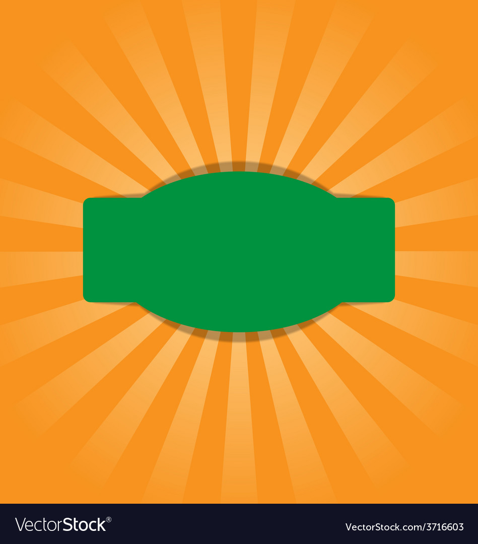 Radial stripes on orange with green frame vector | Price: 1 Credit (USD $1)