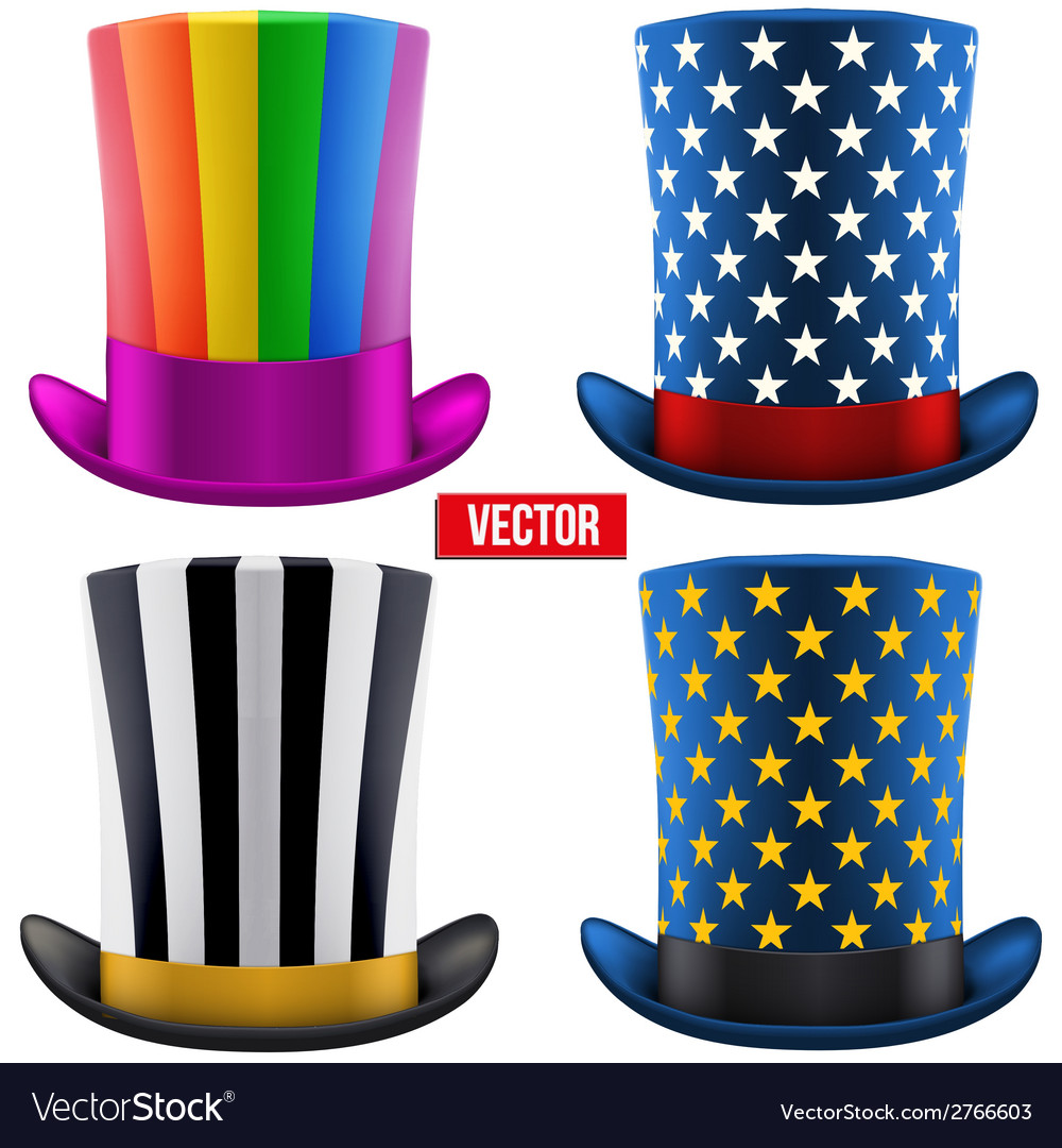 Set of magic hats cylinder vector | Price: 1 Credit (USD $1)