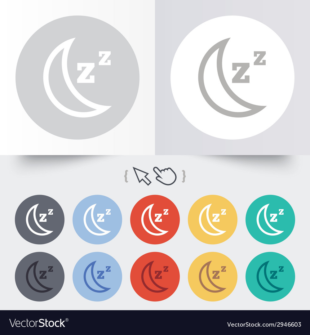Sleep sign icon moon with zzz button vector | Price: 1 Credit (USD $1)
