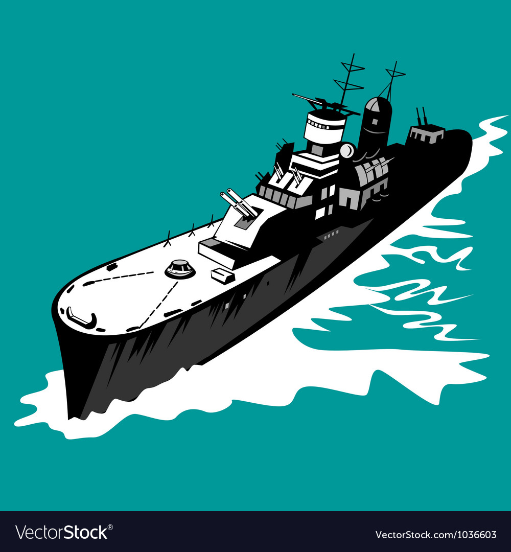 World war two battleship warship cruiser retro vector | Price: 1 Credit (USD $1)