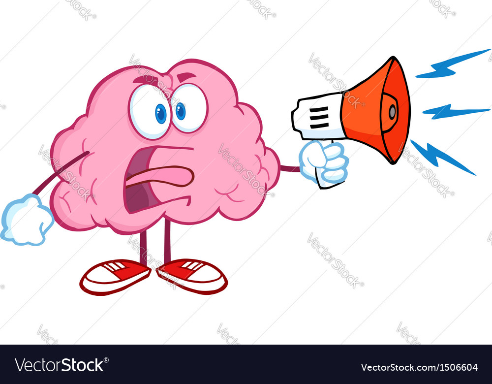 Angry brain screaming into megaphone vector | Price: 1 Credit (USD $1)