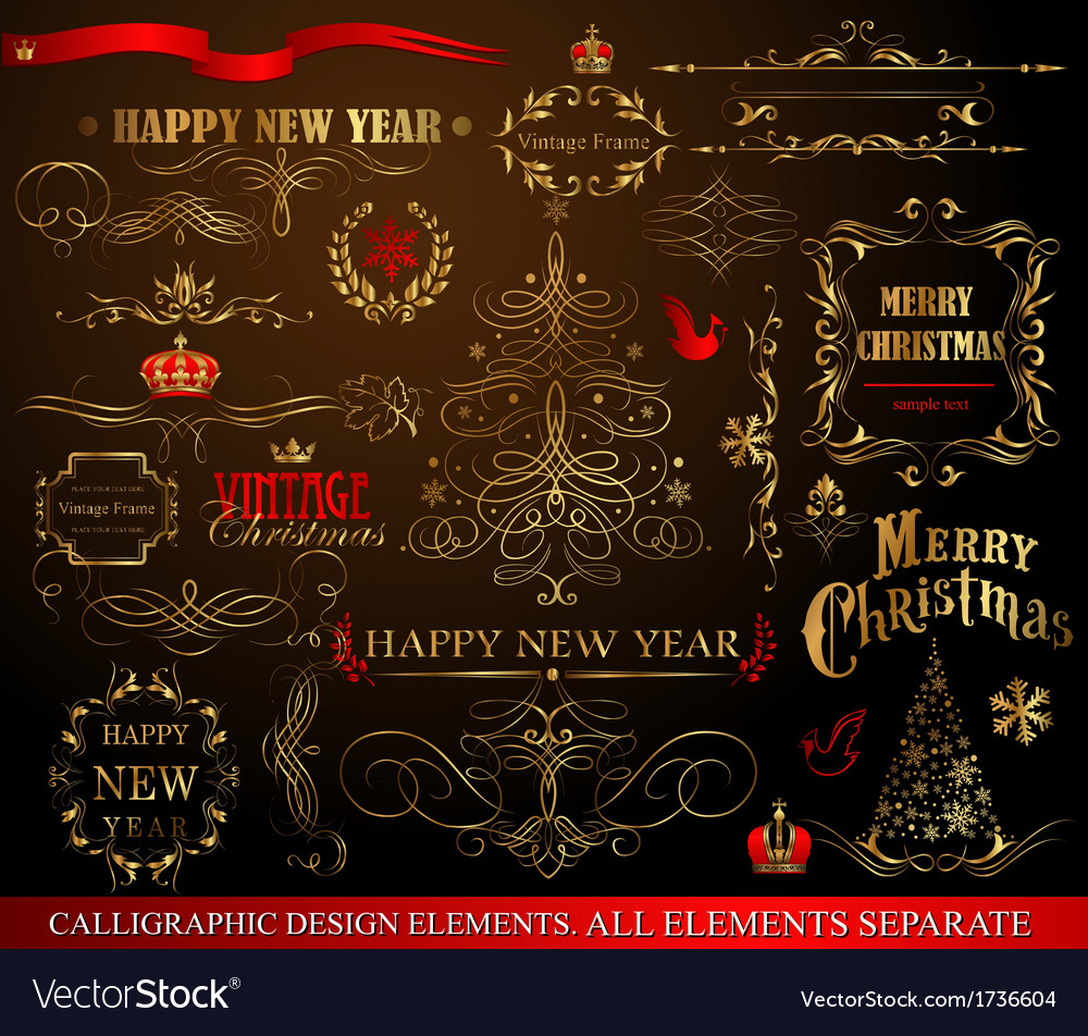 Christmas calligraphic elements vector | Price: 1 Credit (USD $1)