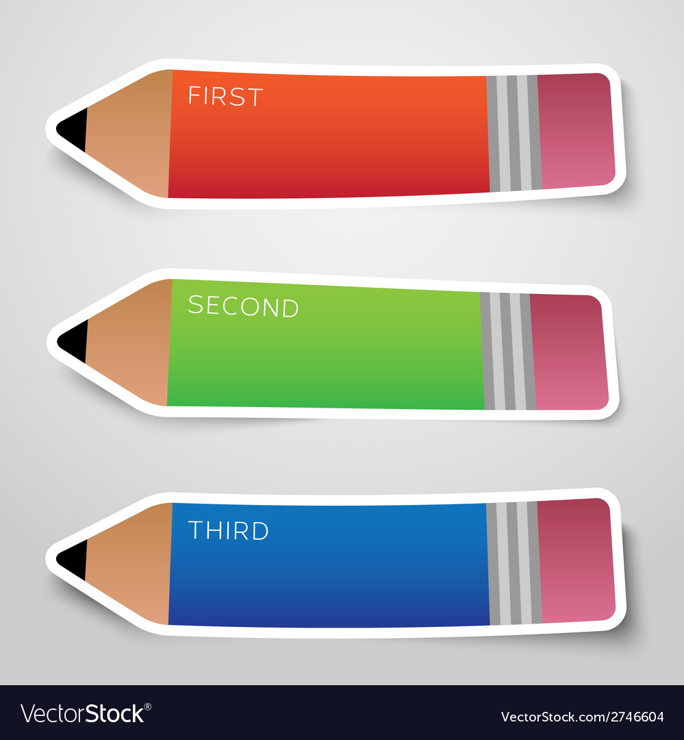 Colorful paper pencil options stickers or banners vector | Price: 1 Credit (USD $1)