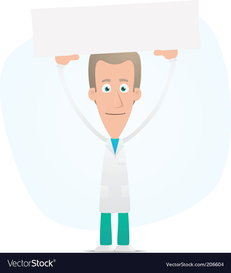 Doctor holds over a banner vector | Price: 1 Credit (USD $1)