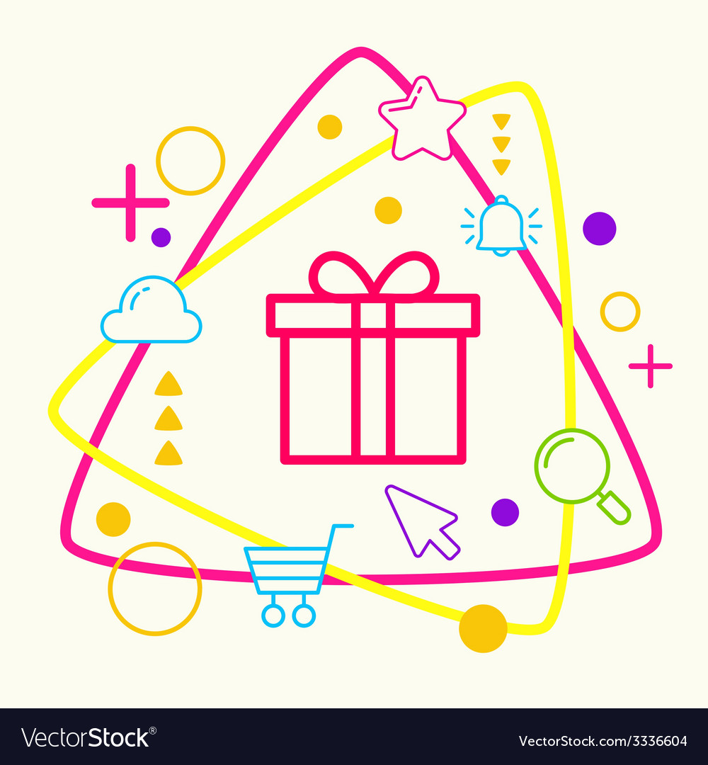 Gift box on abstract colorful geometric light vector   Price: 3 Credit (USD $3)