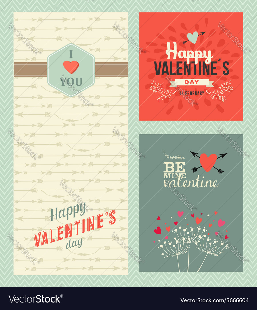 Happy valentines day greeting cards vector | Price: 1 Credit (USD $1)