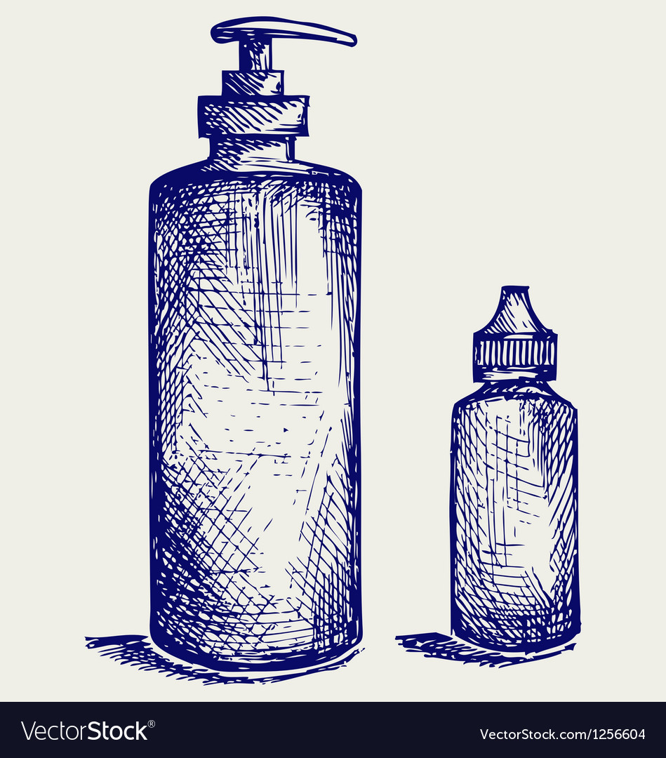Hygiene products in plastic bottles vector | Price: 1 Credit (USD $1)