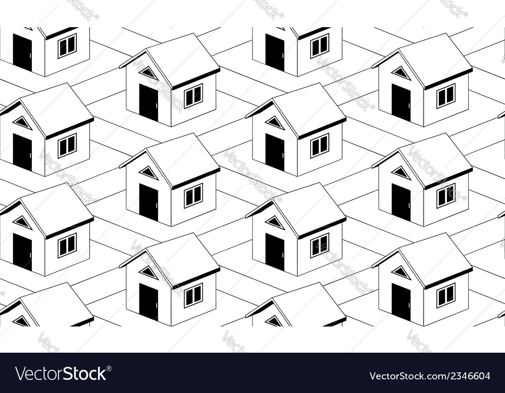 Monochrome seamless pattern with houses vector | Price: 1 Credit (USD $1)