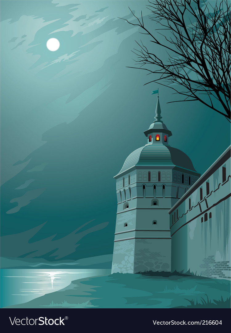 Moonlight castle vector | Price: 1 Credit (USD $1)