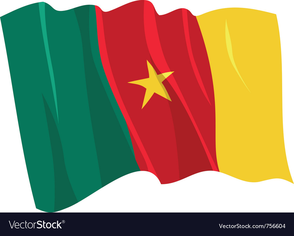 Political waving flag of cameroon vector | Price: 1 Credit (USD $1)