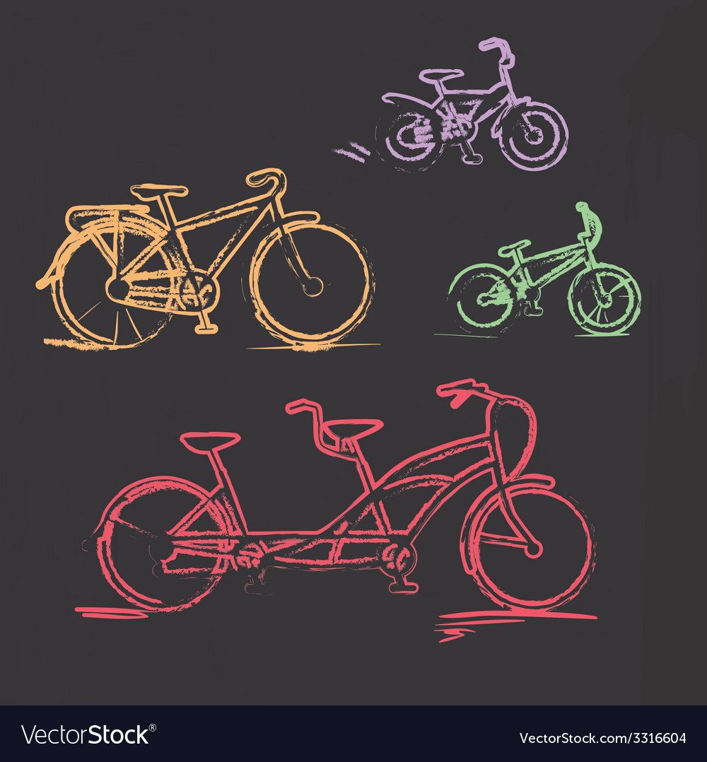 Sketched chalky bicycle set on blackboard vector | Price: 1 Credit (USD $1)
