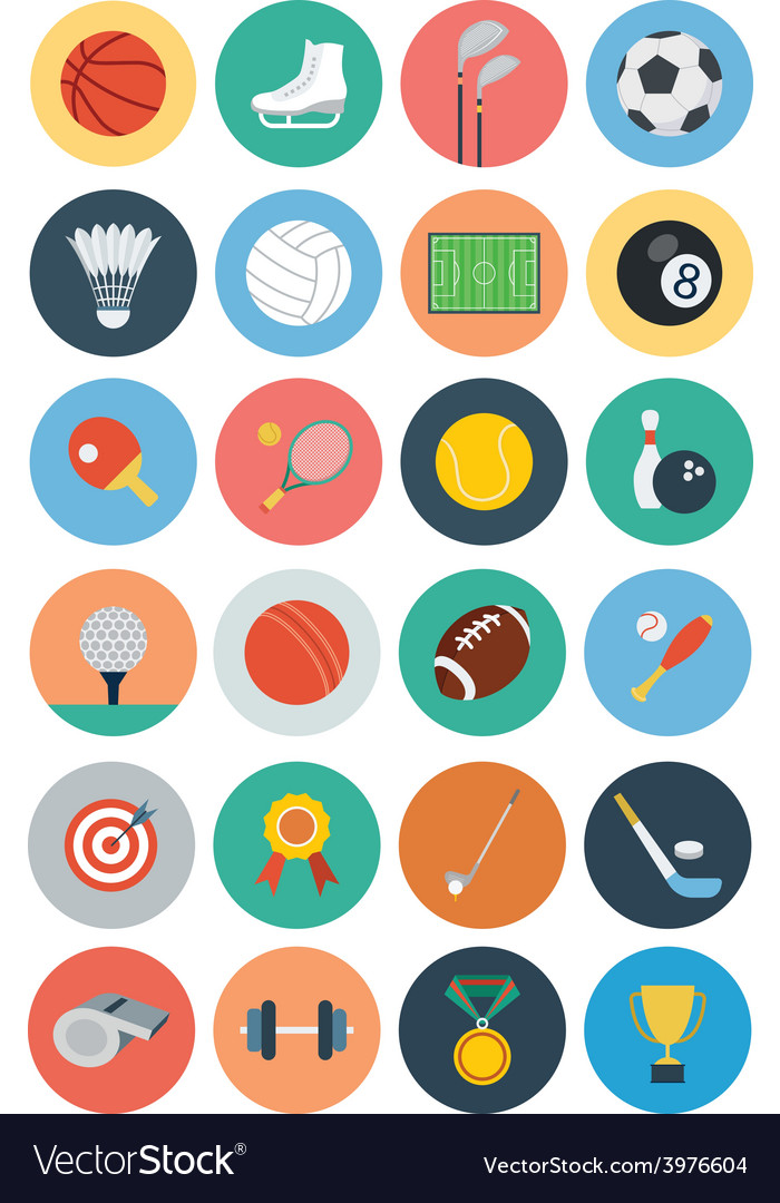 Sports flat icons - vol 1 vector | Price: 1 Credit (USD $1)
