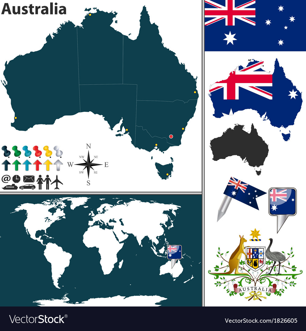 Australia world map vector | Price: 1 Credit (USD $1)