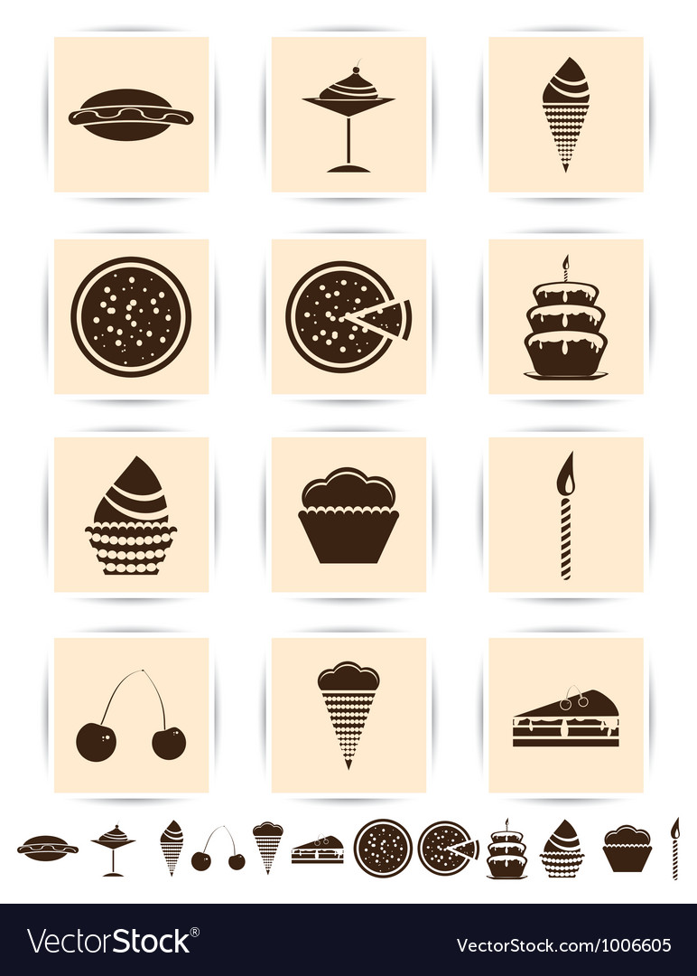 Brown cake icons set vector | Price: 1 Credit (USD $1)