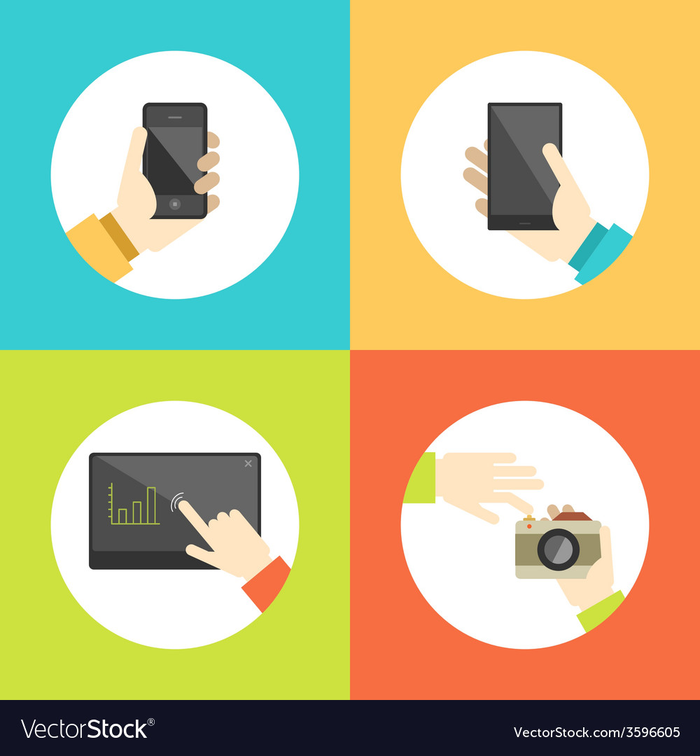 Business hands touch digital devices e-commerce vector | Price: 1 Credit (USD $1)