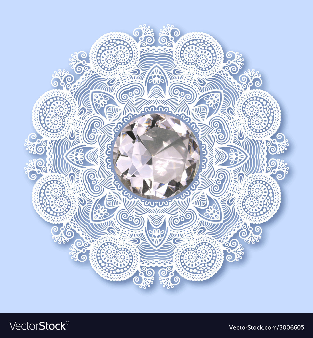 Christmas snowflake decoration with diamond jewel vector | Price: 1 Credit (USD $1)