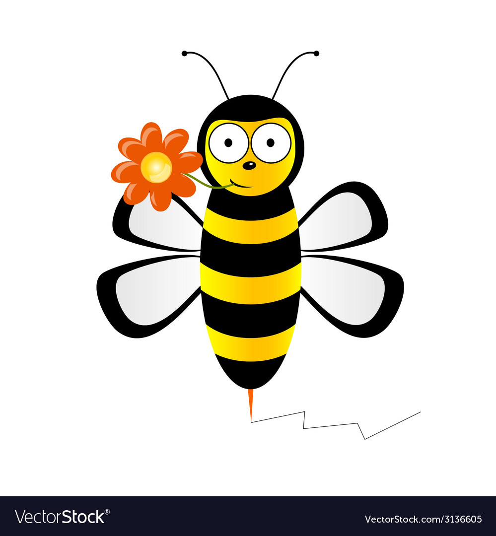 Cute bee with flower vector | Price: 1 Credit (USD $1)