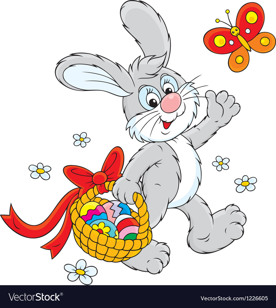Easter bunny carries a basket of eggs vector | Price: 3 Credit (USD $3)