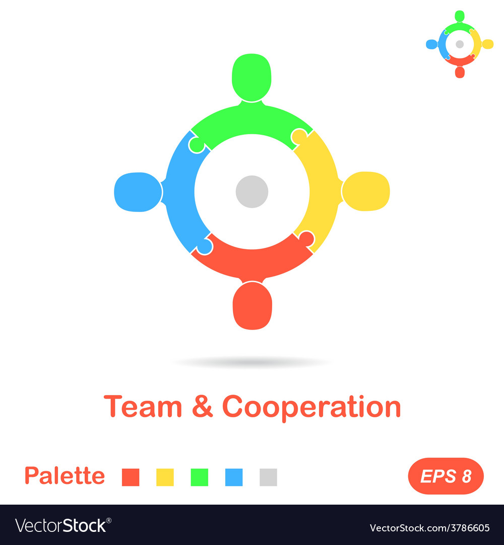 Four segment concept of team vector | Price: 1 Credit (USD $1)