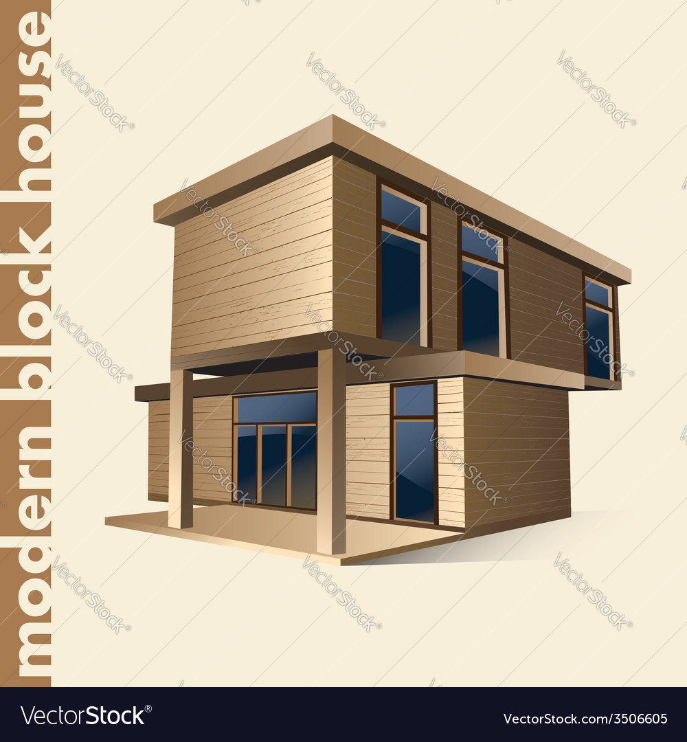 Modern block house in color vector | Price: 3 Credit (USD $3)