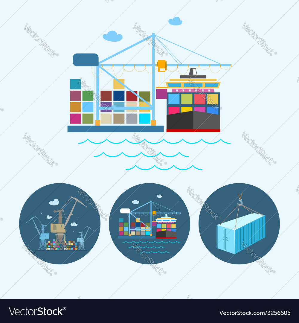Set icons with containers and crane vector | Price: 1 Credit (USD $1)