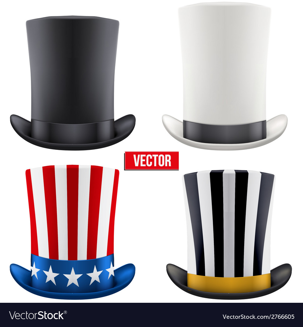 Set of tall gentleman hat cylinder vector | Price: 1 Credit (USD $1)