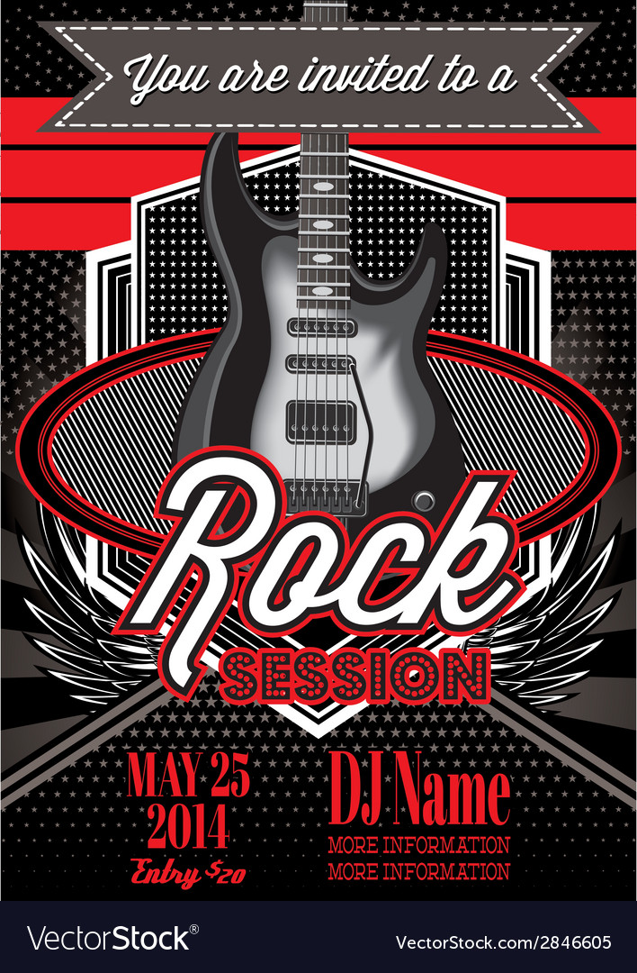 Template for a rock concert with guitar vector | Price: 1 Credit (USD $1)