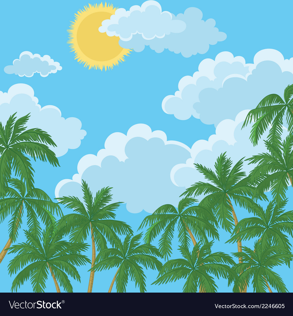 Tropical palms sky with sun and clouds vector | Price: 1 Credit (USD $1)