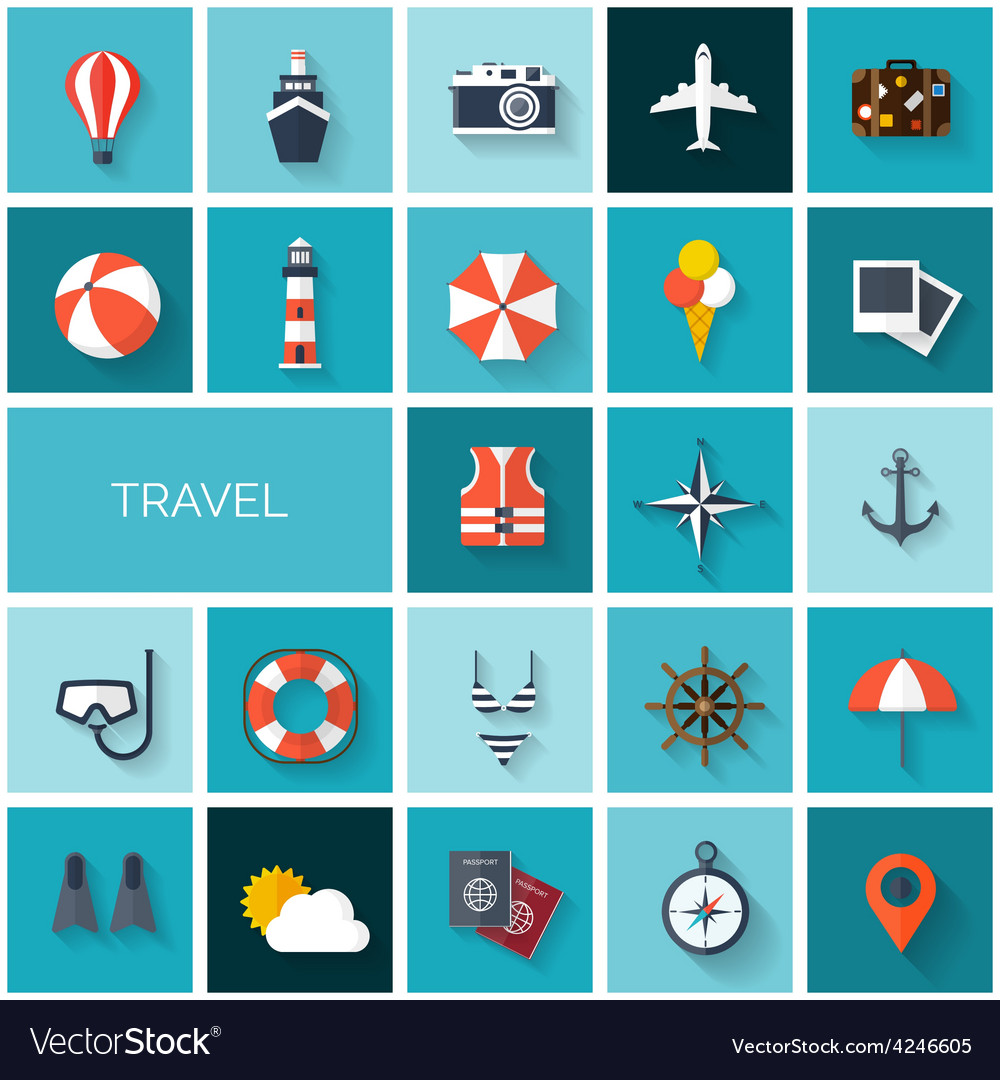 World travel concept background flat icons set vector | Price: 1 Credit (USD $1)