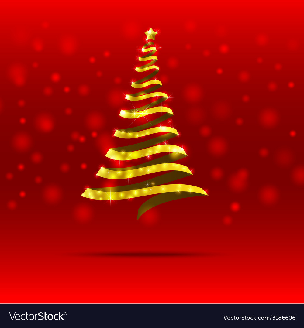 011 gold ribbon christmas tree vector | Price: 1 Credit (USD $1)