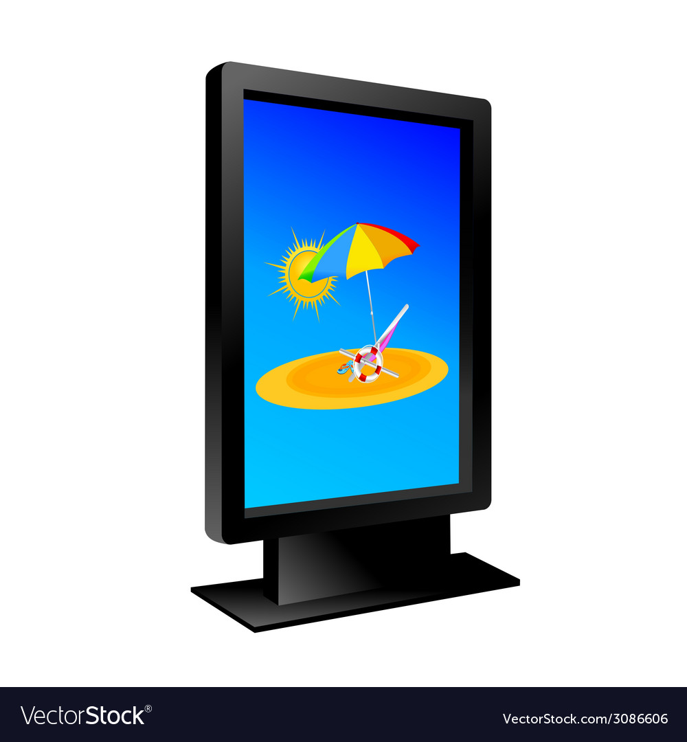 Billboard with beach vector | Price: 1 Credit (USD $1)