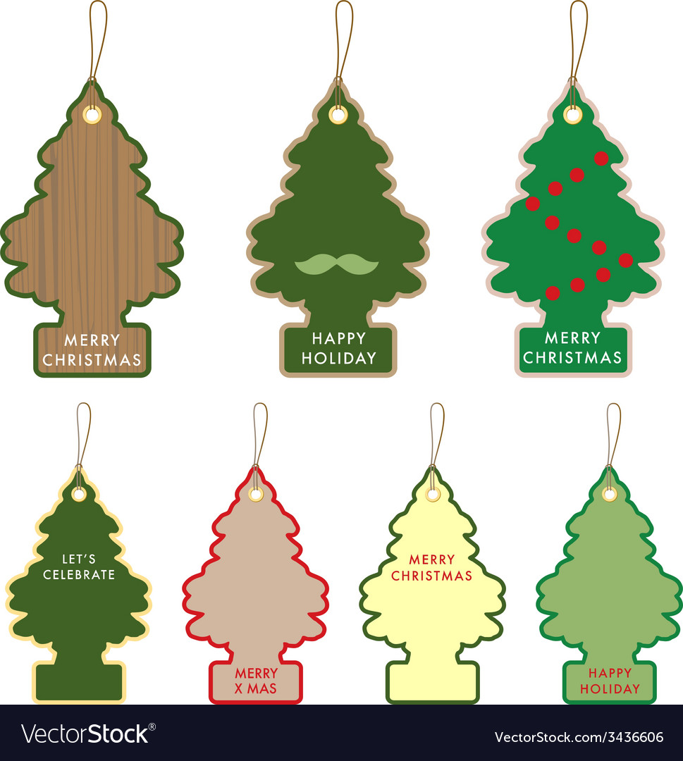 Collection of christmas tree card tag label design vector | Price: 1 Credit (USD $1)