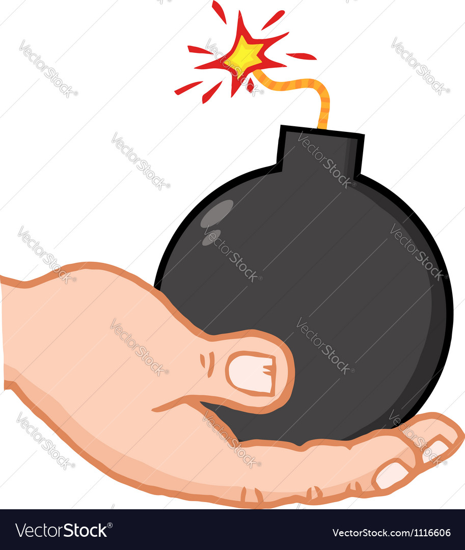 Hand holding bomb vector | Price: 1 Credit (USD $1)