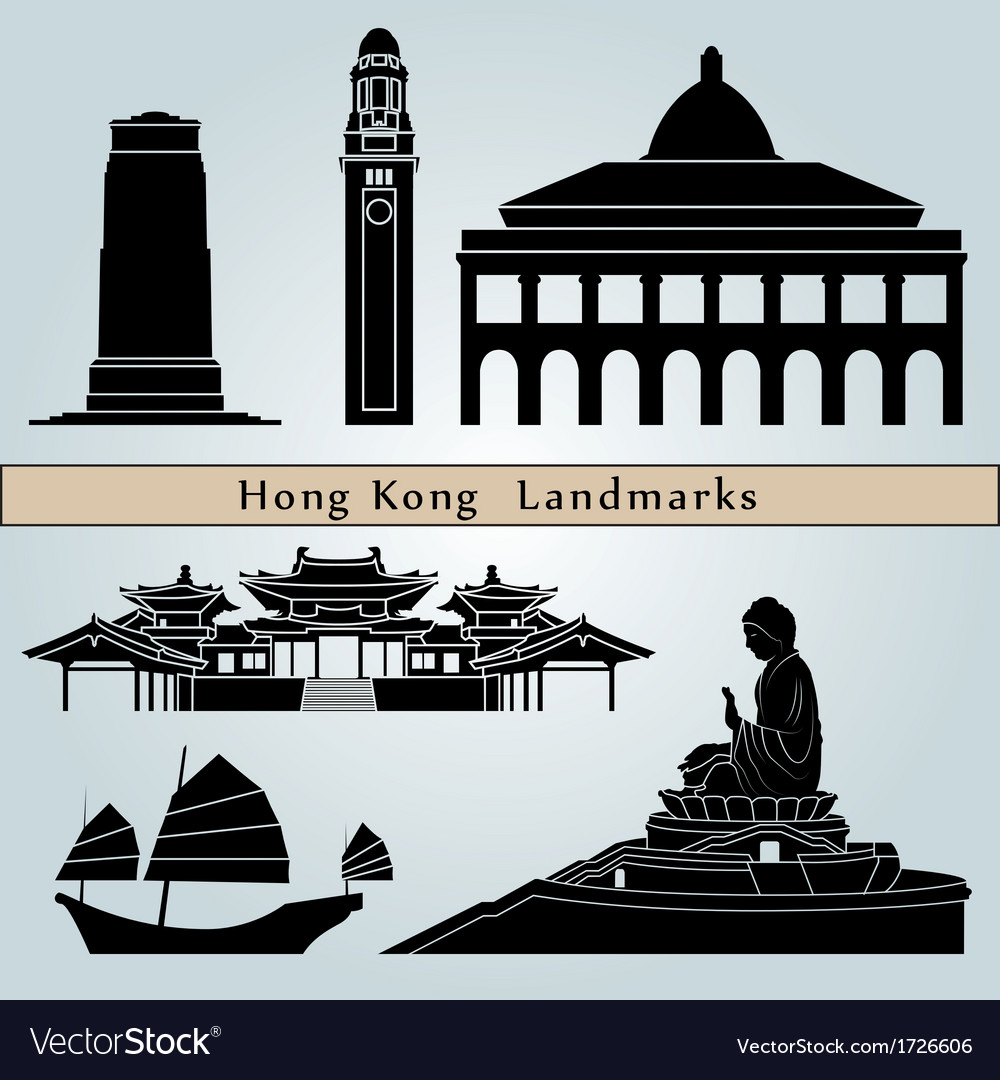 Hong kong landmarks and monuments vector | Price: 1 Credit (USD $1)