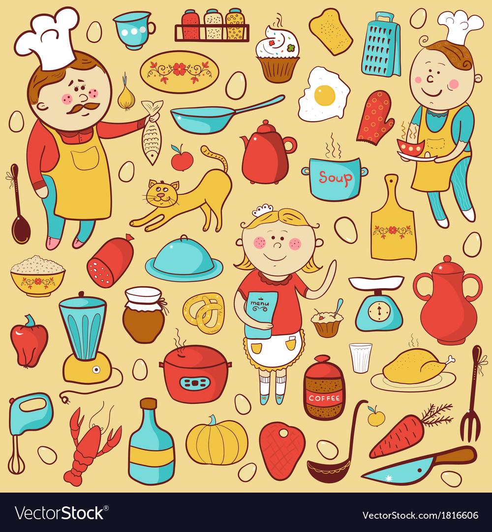 Kitchen set cartoon colorful elements vector   Price: 1 Credit (USD $1)