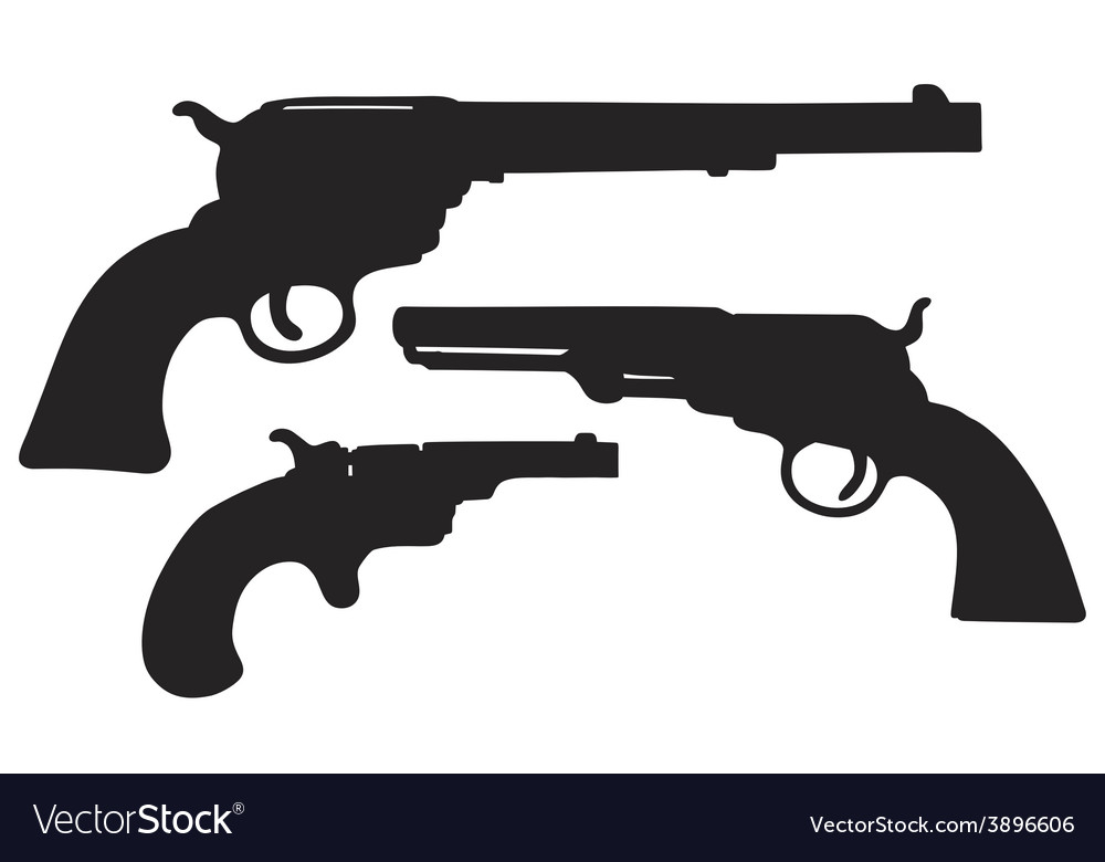 Old american handguns vector