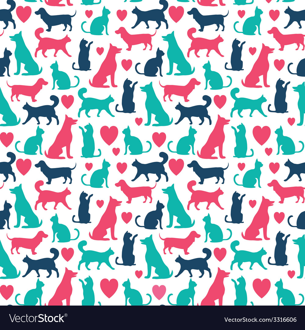 Seamless pattern with cats and dogs vector | Price: 1 Credit (USD $1)