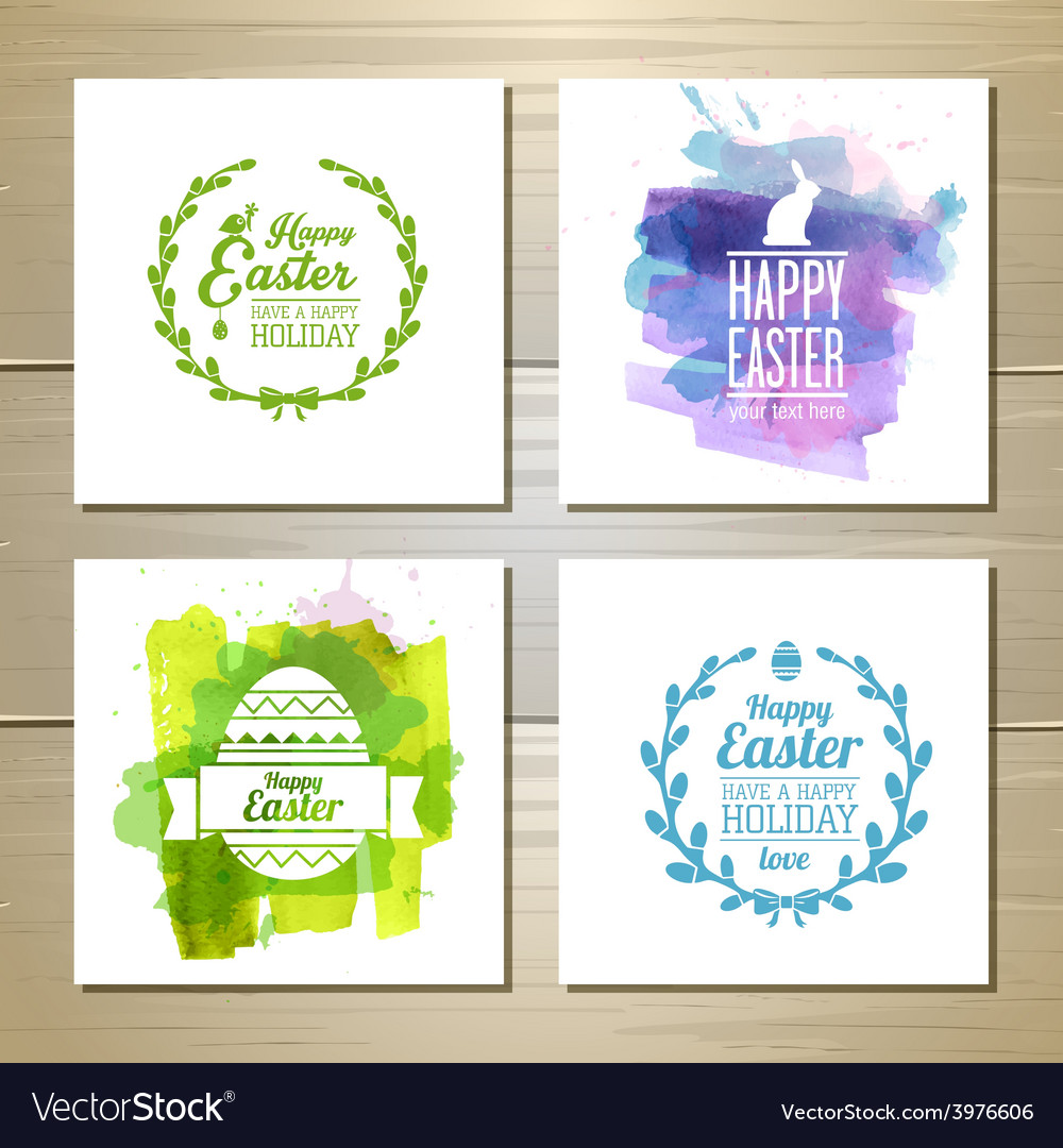 Set of easter watercolor decorative cards vector | Price: 1 Credit (USD $1)