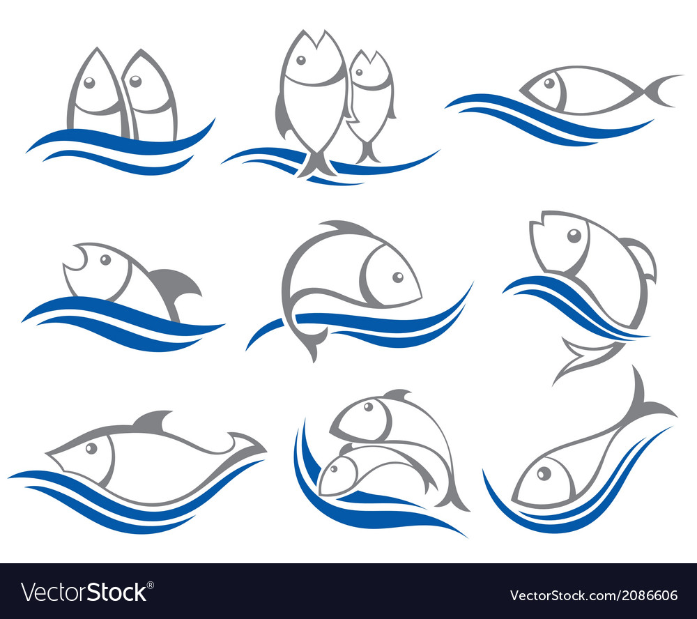 Set of fish icons vector | Price: 1 Credit (USD $1)