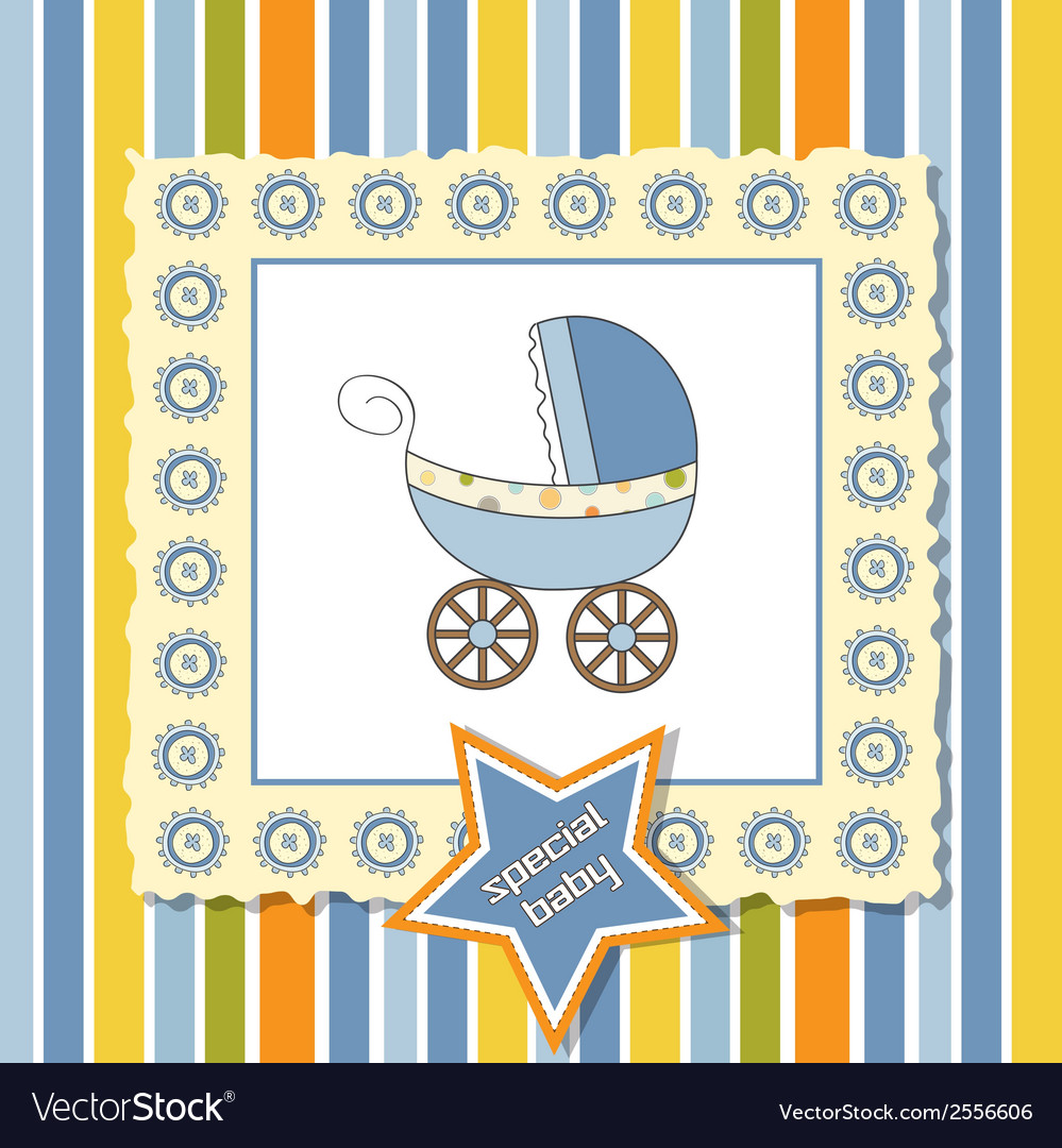 Shower card with pram vector | Price: 1 Credit (USD $1)