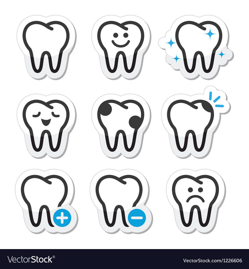 Tooth dental icons set vector | Price: 1 Credit (USD $1)
