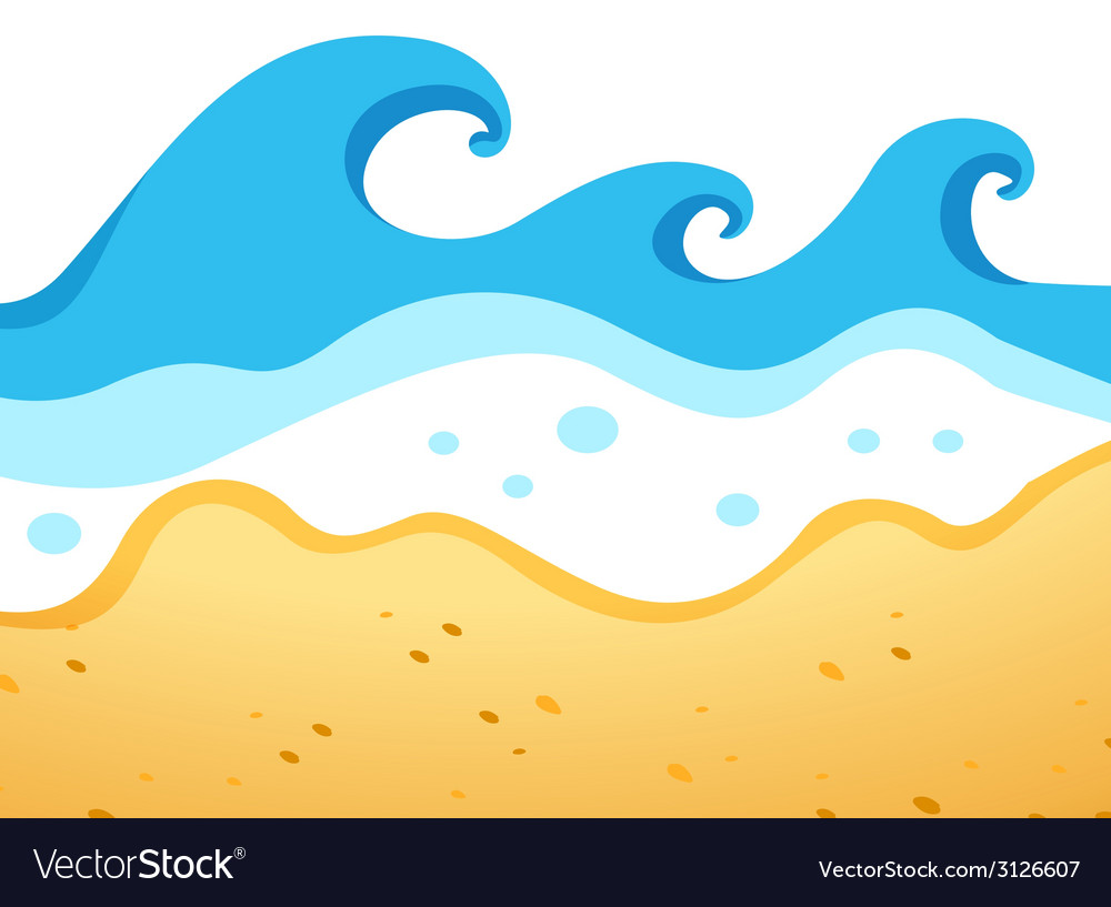 A beach with big waves vector | Price: 1 Credit (USD $1)
