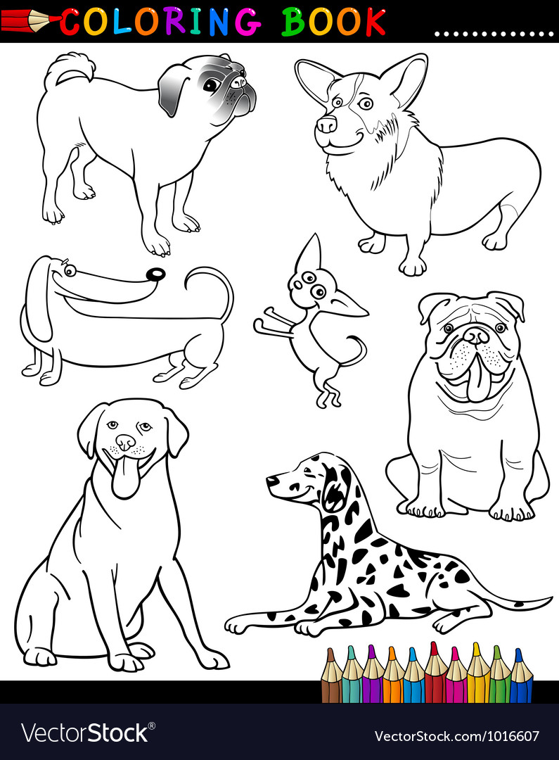 Cartoon dogs for coloring book or page vector | Price: 1 Credit (USD $1)