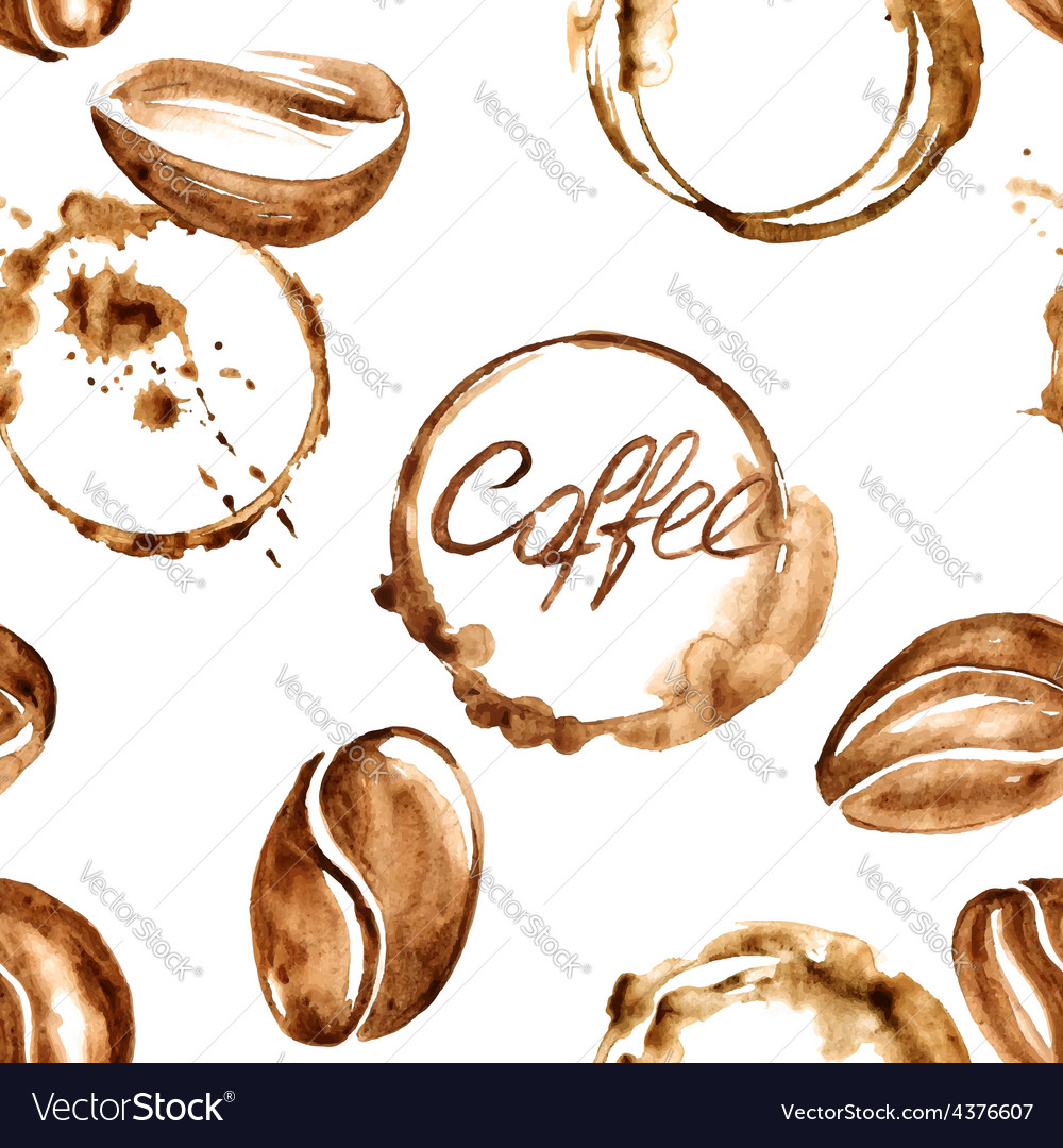 Coffee watercolor seamless pattern vector | Price: 1 Credit (USD $1)