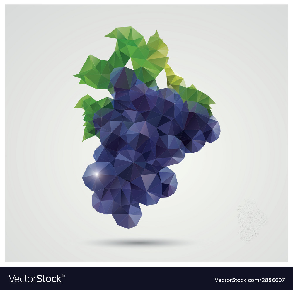 Geometric polygonal fruit triangles grapes vector | Price: 1 Credit (USD $1)