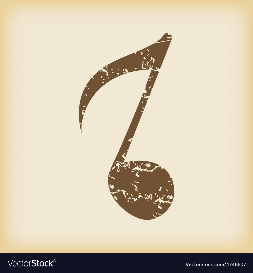 Grungy eighth note icon vector | Price: 1 Credit (USD $1)