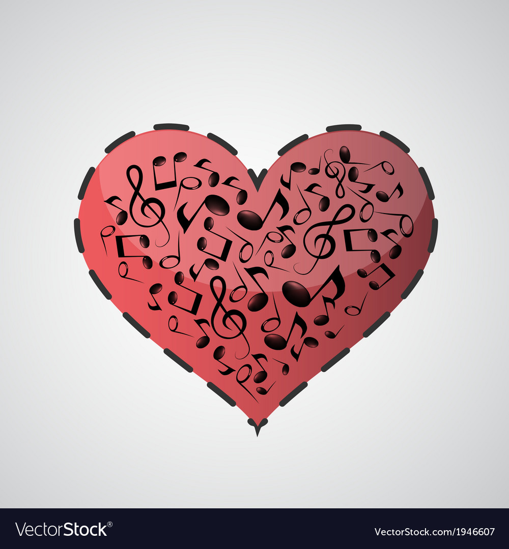 Heart made from music notes vector