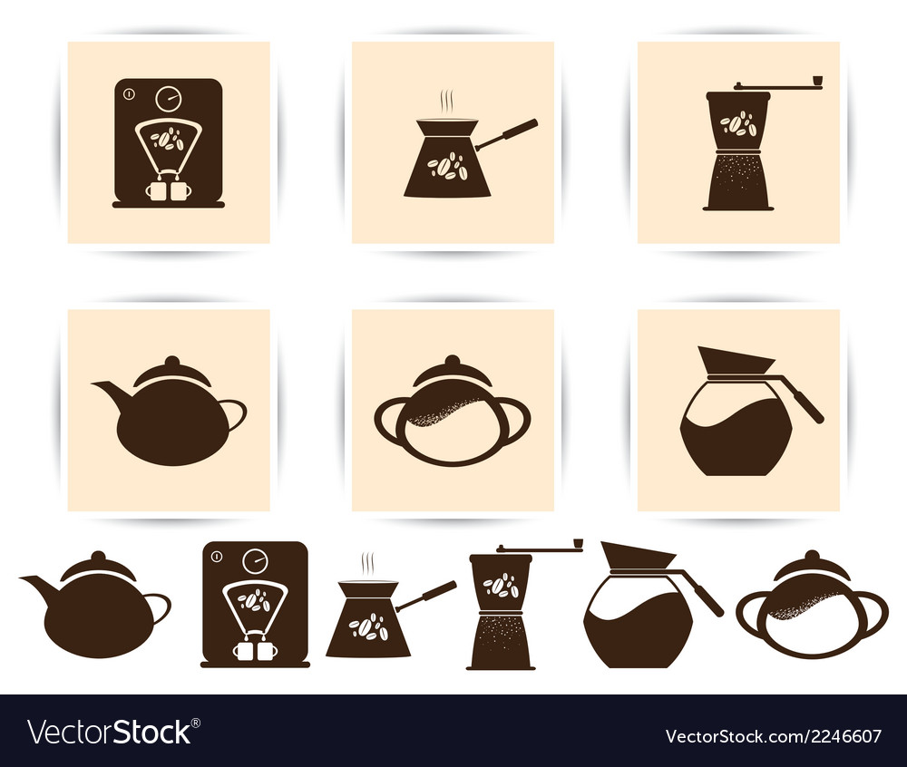 Print brown coffee icons set and cafe icon vector | Price: 1 Credit (USD $1)